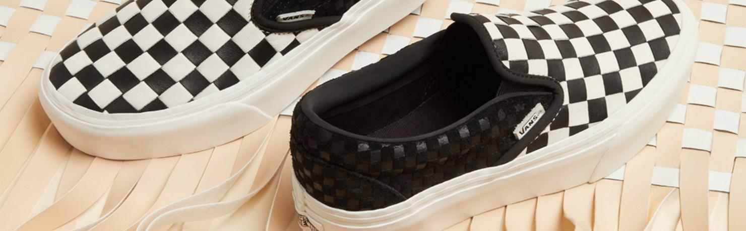Vans Woven Checkerboard Coleção Tênis Plataforma Old Skool, Slip On e Authentic