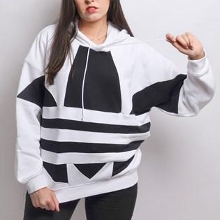 Blusa Adidas LRG Logo Hoodie White Black FS1306