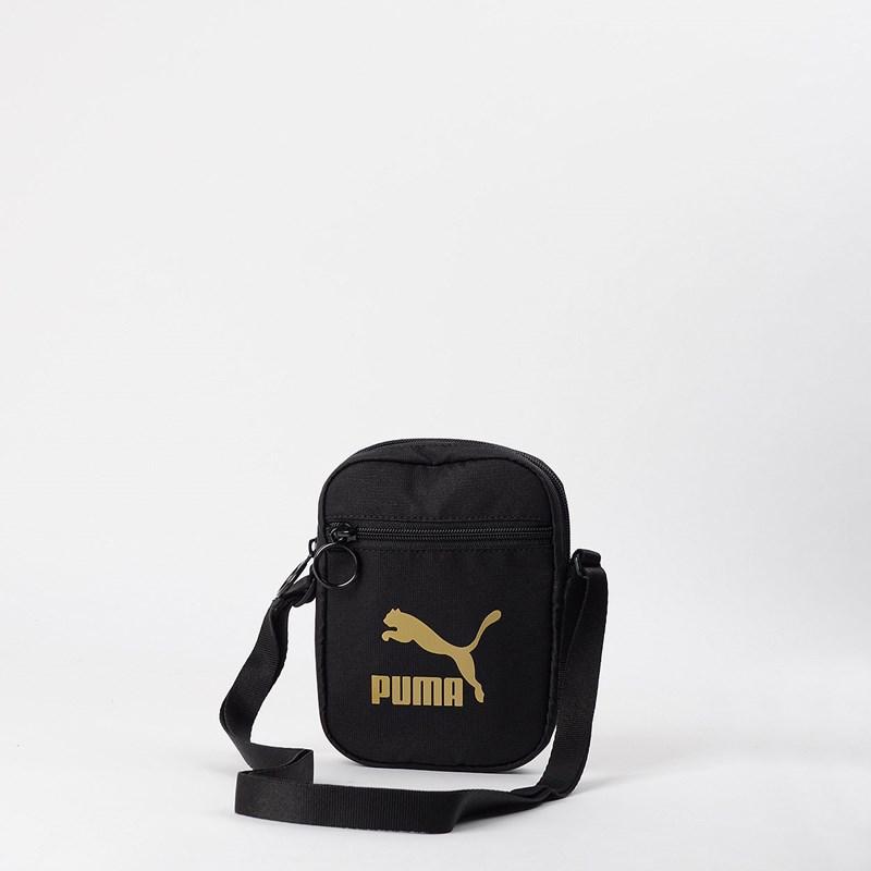 Bolsa Puma Originals Portable Woven Black Gold 07692701