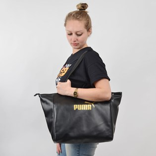 Bolsa Puma WMN Core Up Large Shopper Preto Ouro 07657801