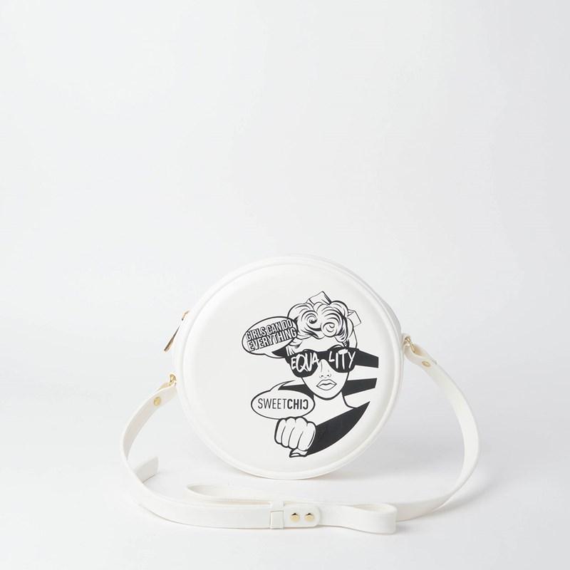 Bolsa Sweet Chic Redonda Quebek Pop Art Branco 5153