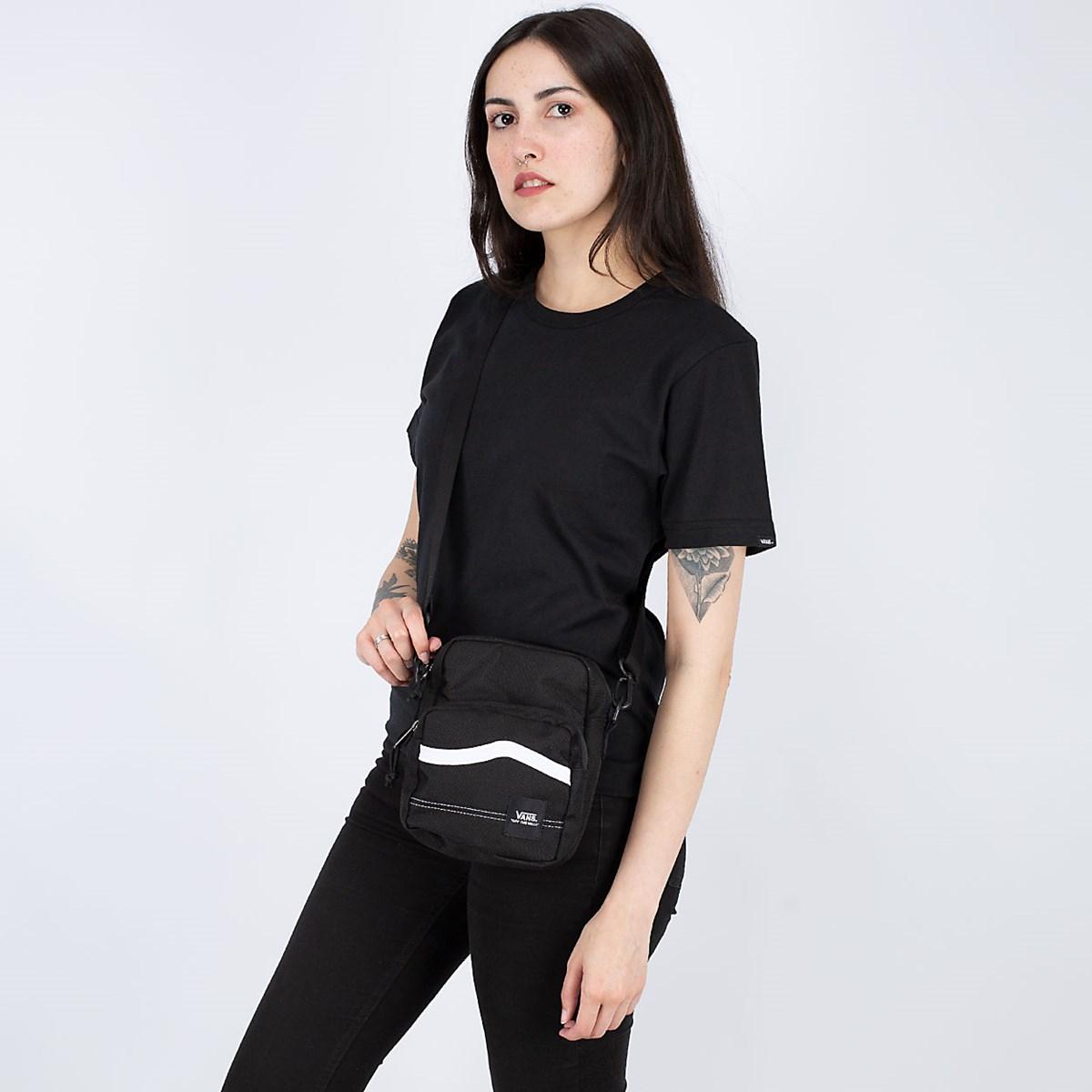 Bolsa Vans Construct Shoulder Bag Black White VN0A4RWZY28