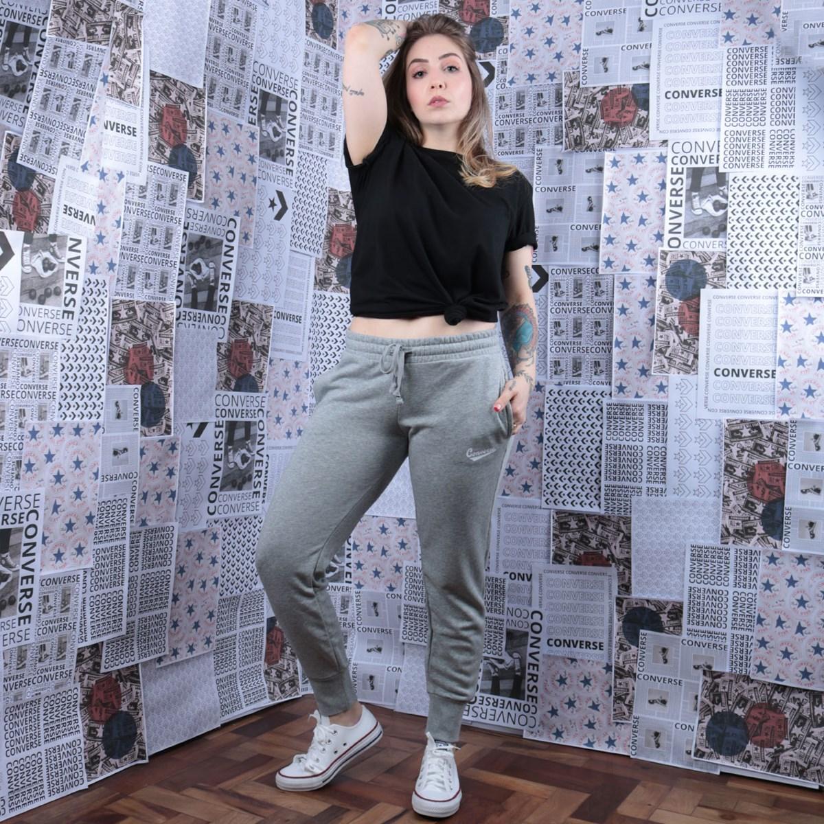 Calça Converse Moletom SC Nova Pant Grey Heather 10017714-A02