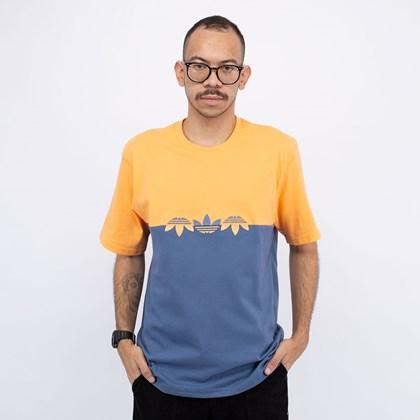 Camiseta adidas Adicolor Sliced Multi Trefoil Crew Blue Orange GN3509