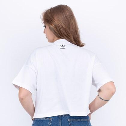 Camiseta Adidas Cropped Feminino LRG Logo Tee White FM2558