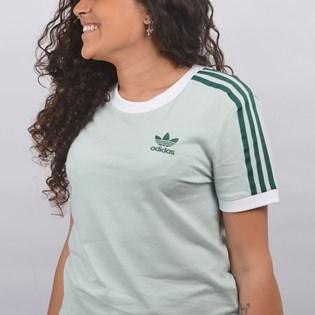 Camiseta Adidas Feminina 3 Stripes Verde Claro ED7485