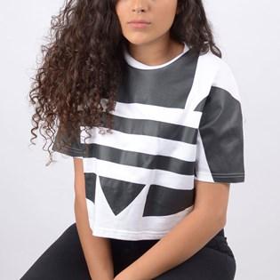 Camiseta Adidas Feminina Cropped LRG Logo Tee White FM2564
