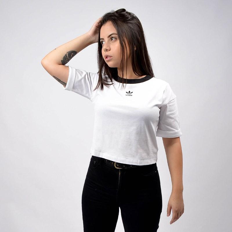 Camiseta Adidas Feminina Cropped Top White Black FM2556