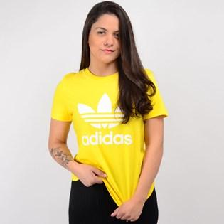 Camiseta Adidas Feminina Trefoil Tee Amarelo ED7495