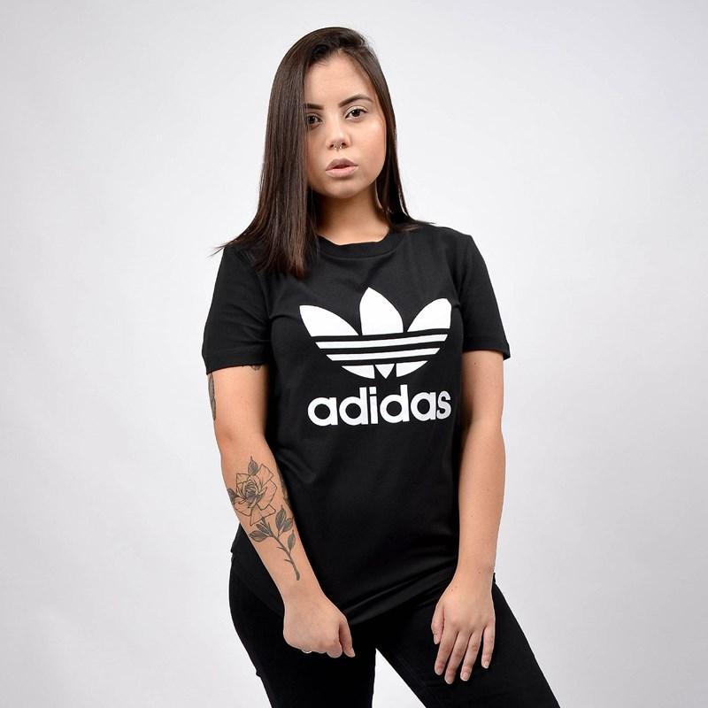 Camiseta Adidas Feminina Trefoil Tee Black White FM3311