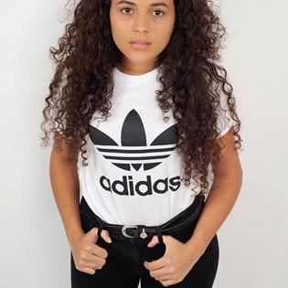 Camiseta Adidas Feminina Trefoil Tee Branco Preto CV9889