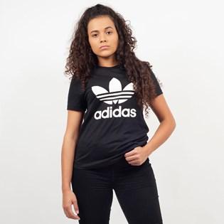 Camiseta Adidas Feminina Trefoil Tee Preto Branco CV9888