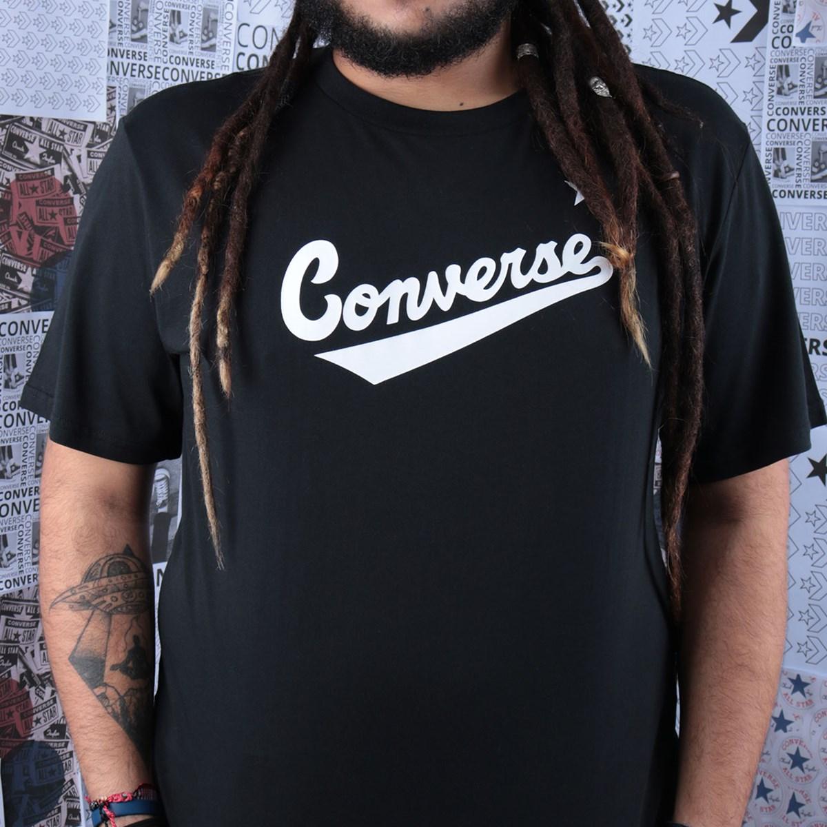 Camiseta Converse Center Front Logo Tee Black 10018235-A01
