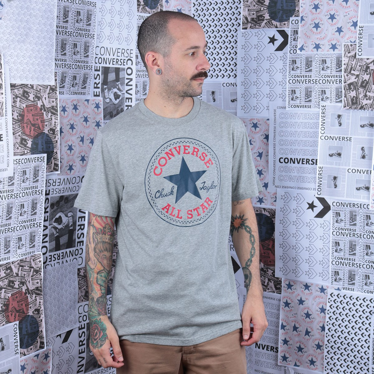Camiseta Converse Chuck Patch Tee Grey Heather 10007887-A03