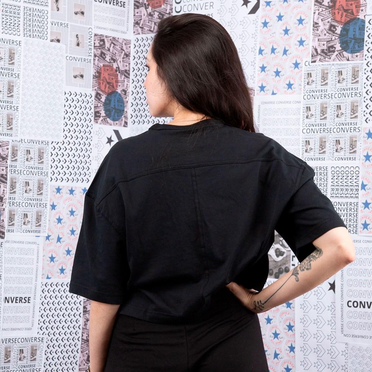 Camiseta Converse Cropped Chuck 70s Cut & Sew Black 10020757-A02