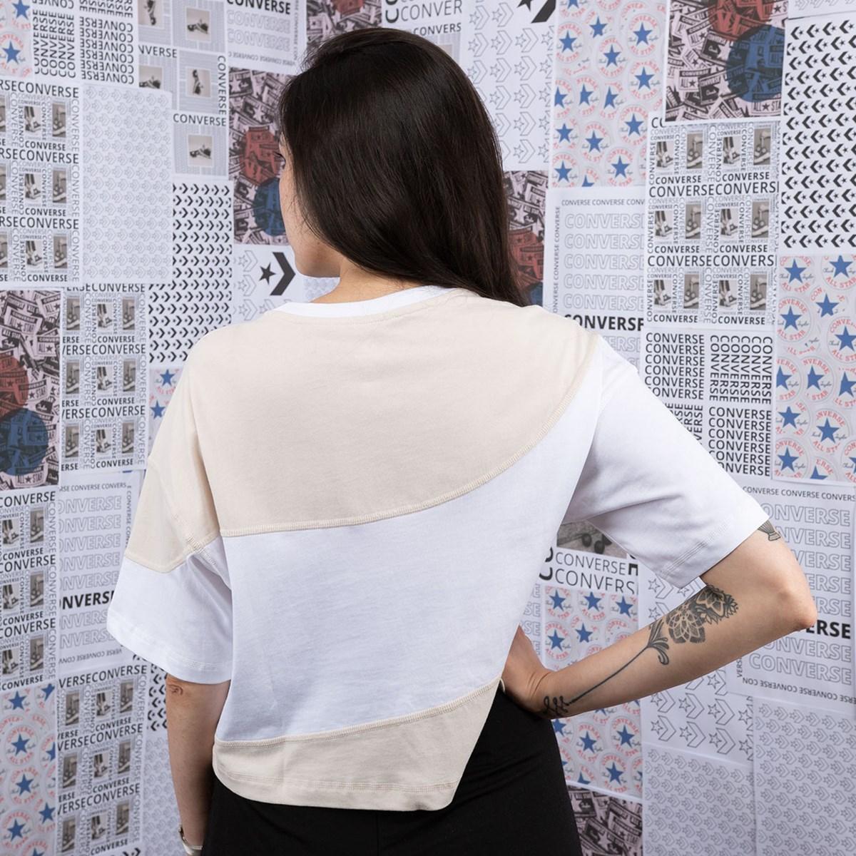 Camiseta Converse Cropped Rivalry Cut & Sew OS Brown Multi 10019793-A02