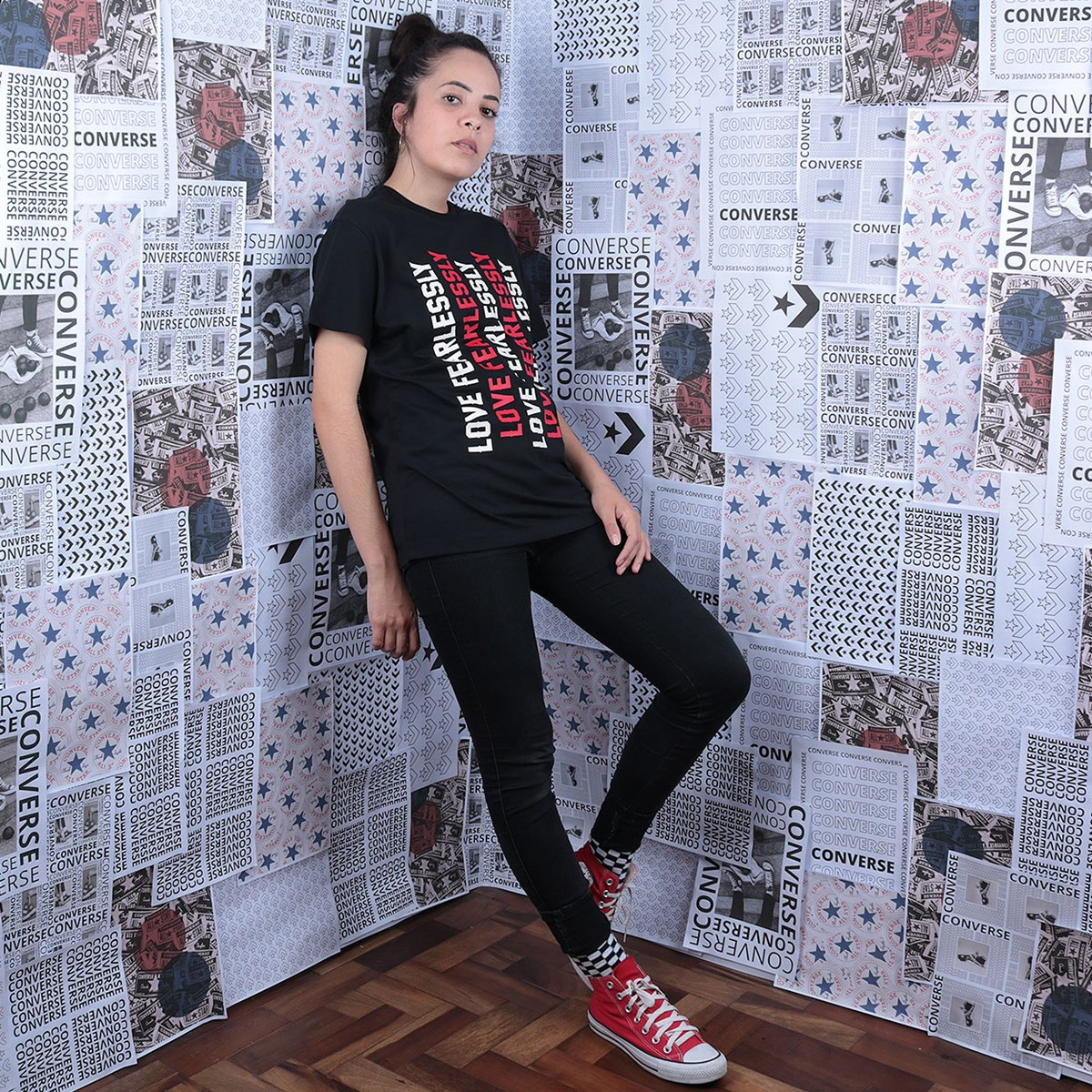 Camiseta Converse Love The Progress 2.0 Relaxed Tee Black 10019658-A01