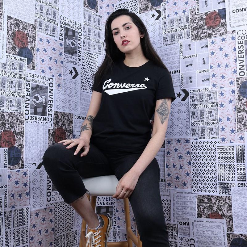 Camiseta Converse Nova Center Front Logo Vintage Black 10018268-A01