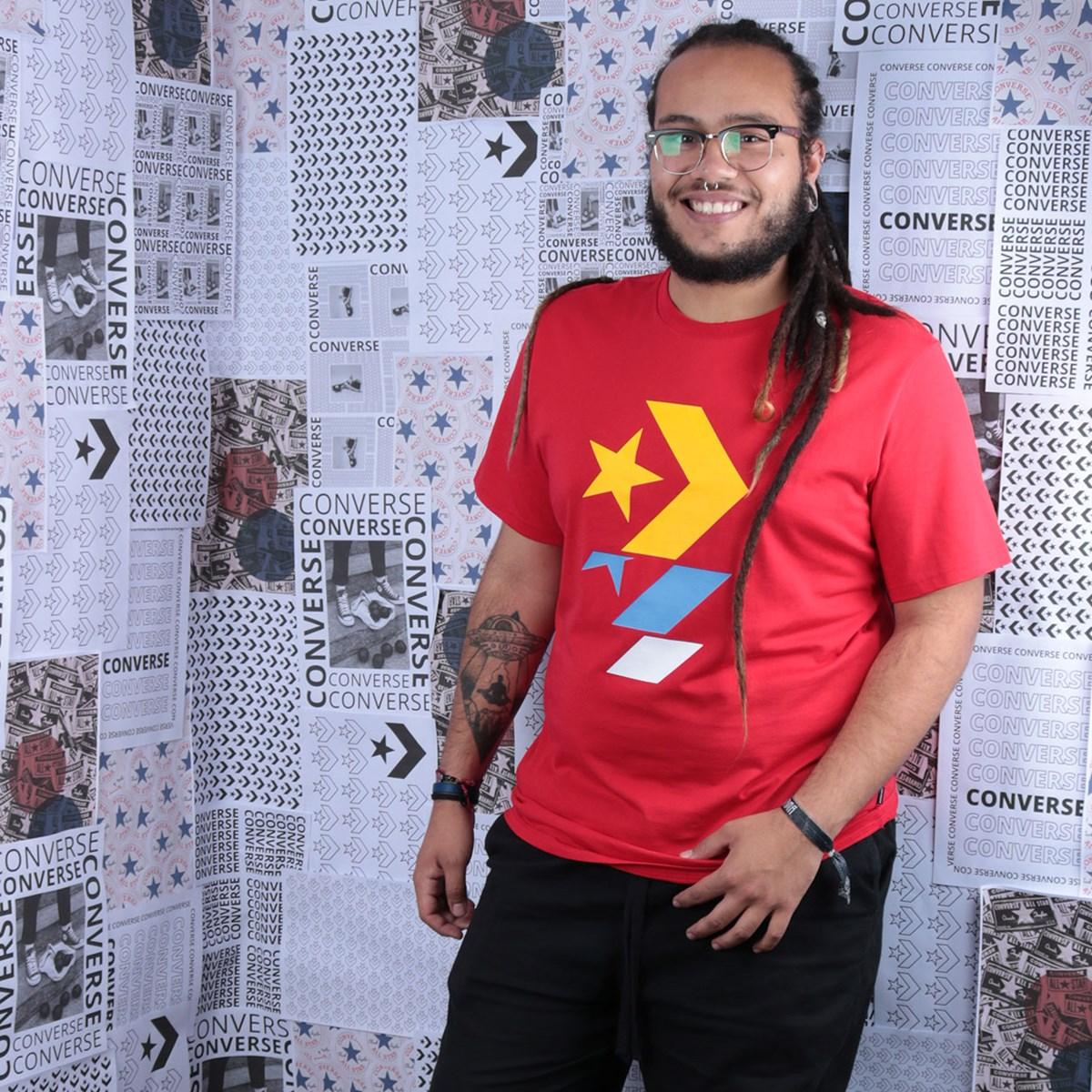Camiseta Converse Repeated Star Chevron Tee University Red 10017452-A14