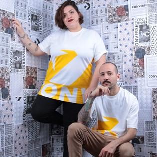 Camiseta Converse Star Chevron Icon Remix White Amarillo 10018381-A03