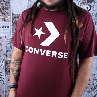 Camiseta Converse Star Chevron Tee Dark Burgundy 10018568-A11