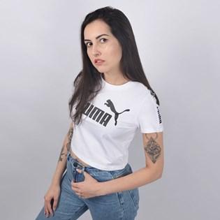 Camiseta Puma Cropped Feminina Amplified Logo Fitted Tee Branco 58046702
