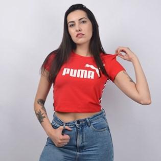 Camiseta Puma Cropped Feminina Tape Logo Tee Vermelho 85213512