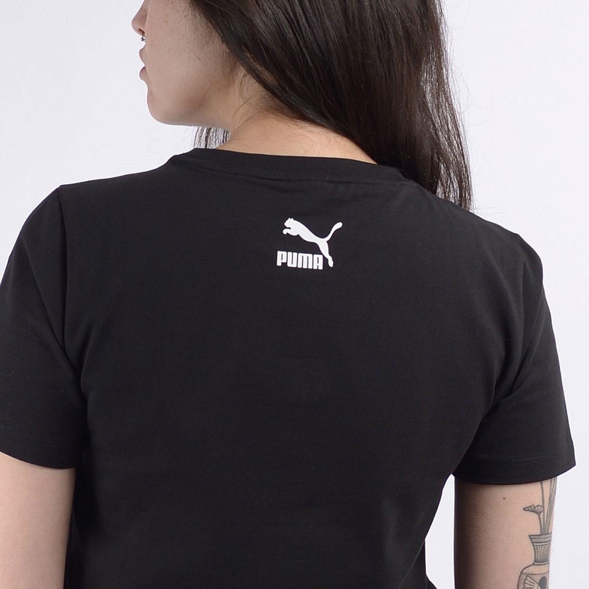 Camiseta Puma Cropped Feminina TFS Graphic Crop Top Black 59625801