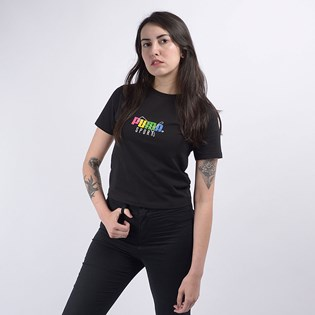Camiseta Puma Cropped Feminina TFS Graphic Crop Top Black 59625801