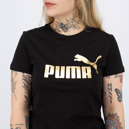 Camiseta Puma ESS+ Metallic Logo Tee Black Gold 586890-01