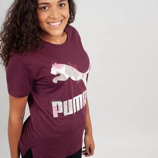 Camiseta Puma Feminina Classics Logo Tee Bordo 57624282