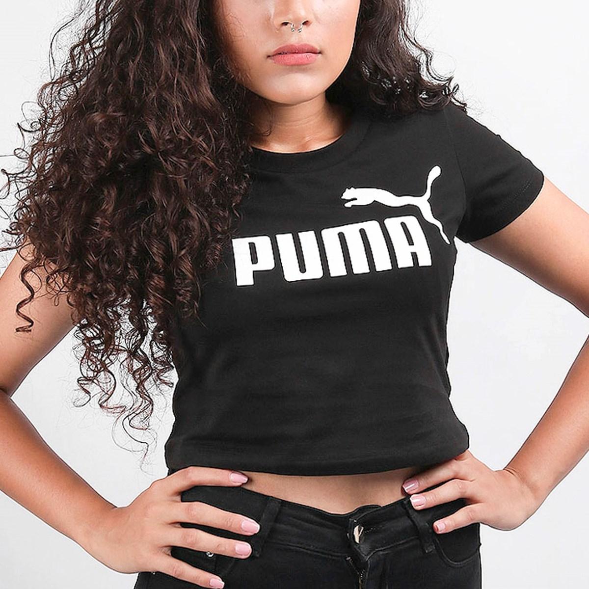 Camiseta Puma Feminina Cropped ESS+ Fitted Tee Black 58139801 Black