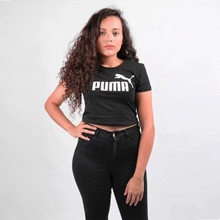 Camiseta Puma Feminina Cropped ESS+ Fitted Tee Black 58139801 Black