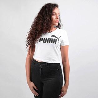 Camiseta Puma Feminina Cropped ESS+ Fitted Tee White 58139802 White