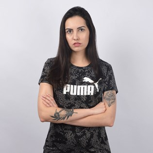 Camiseta Puma Feminina Elevated ESS AOP Tee Preto 58015501