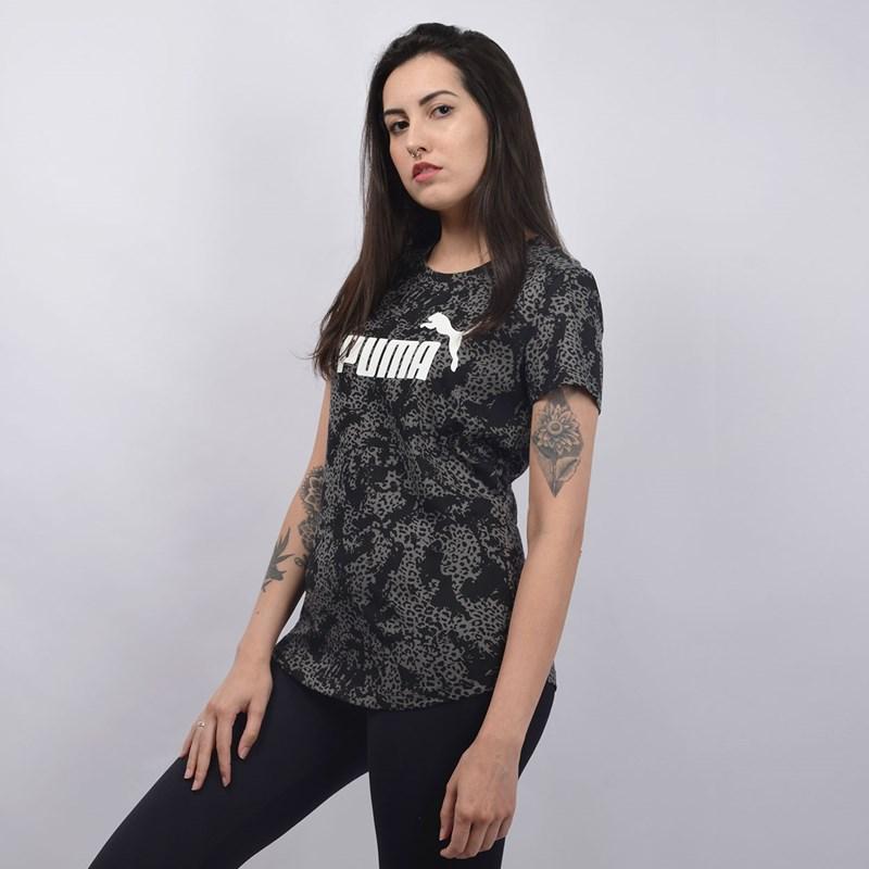 Camiseta Puma Feminina Elevated ESS AOP Tee Preto 58015501