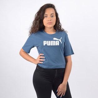 Camiseta Puma Feminina ESS+ Cropped Logo Tee Dark Denim 85259443