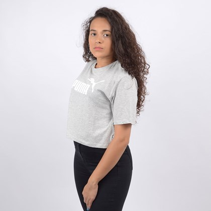 Camiseta Puma Feminina ESS+ Cropped Logo Tee Light Gray Heather 85259404