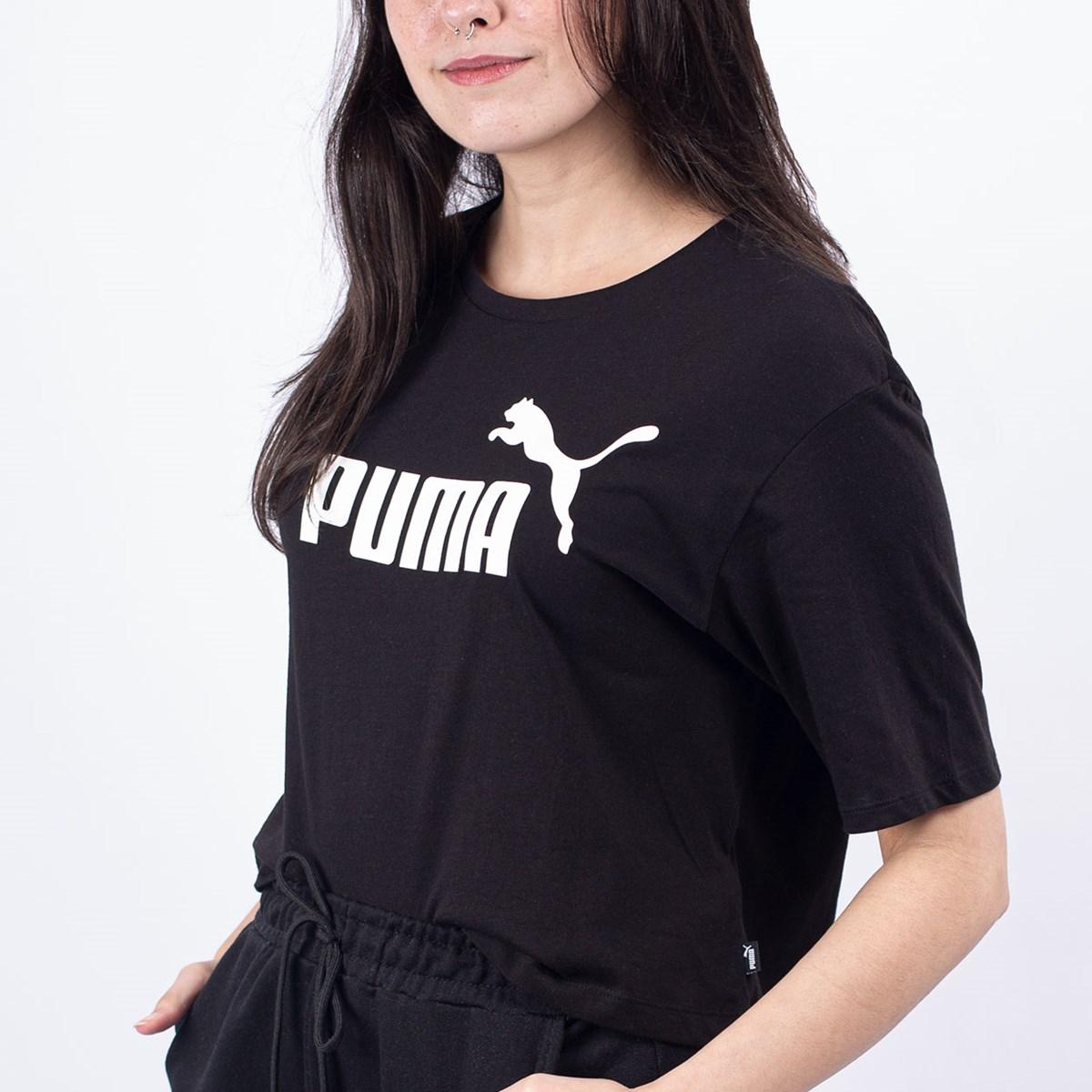 Camiseta Puma Feminina Essentials+ Cropped Tee Black 85259401