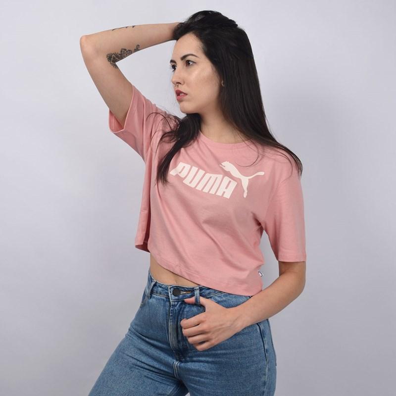 Camiseta Puma Feminina Essentials+ Cropped Tee Bridal Rose 85259494