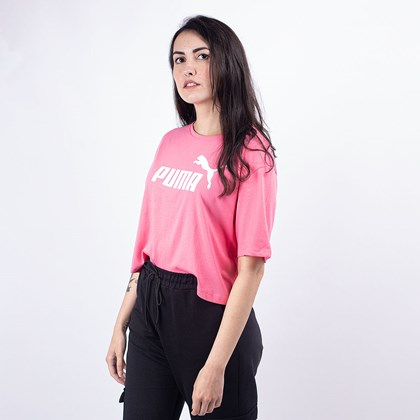 Camiseta Puma Feminina Essentials+ Cropped Tee Bubblegum 85259480