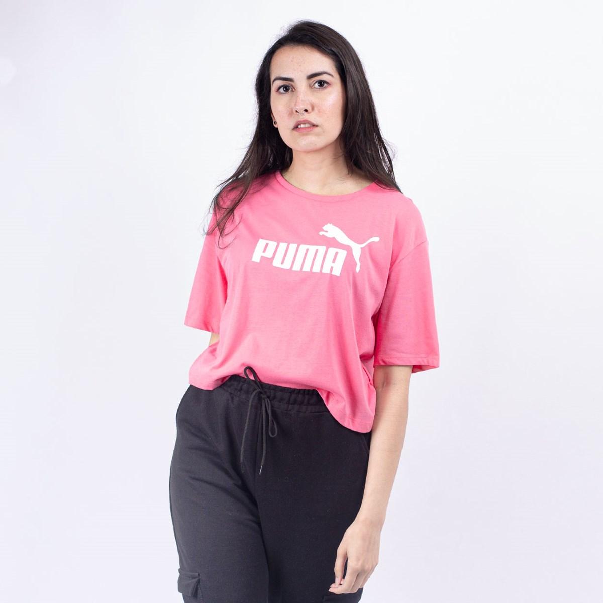 Camiseta Puma Feminina Essentials+ Cropped Tee Bubblegum 85259480