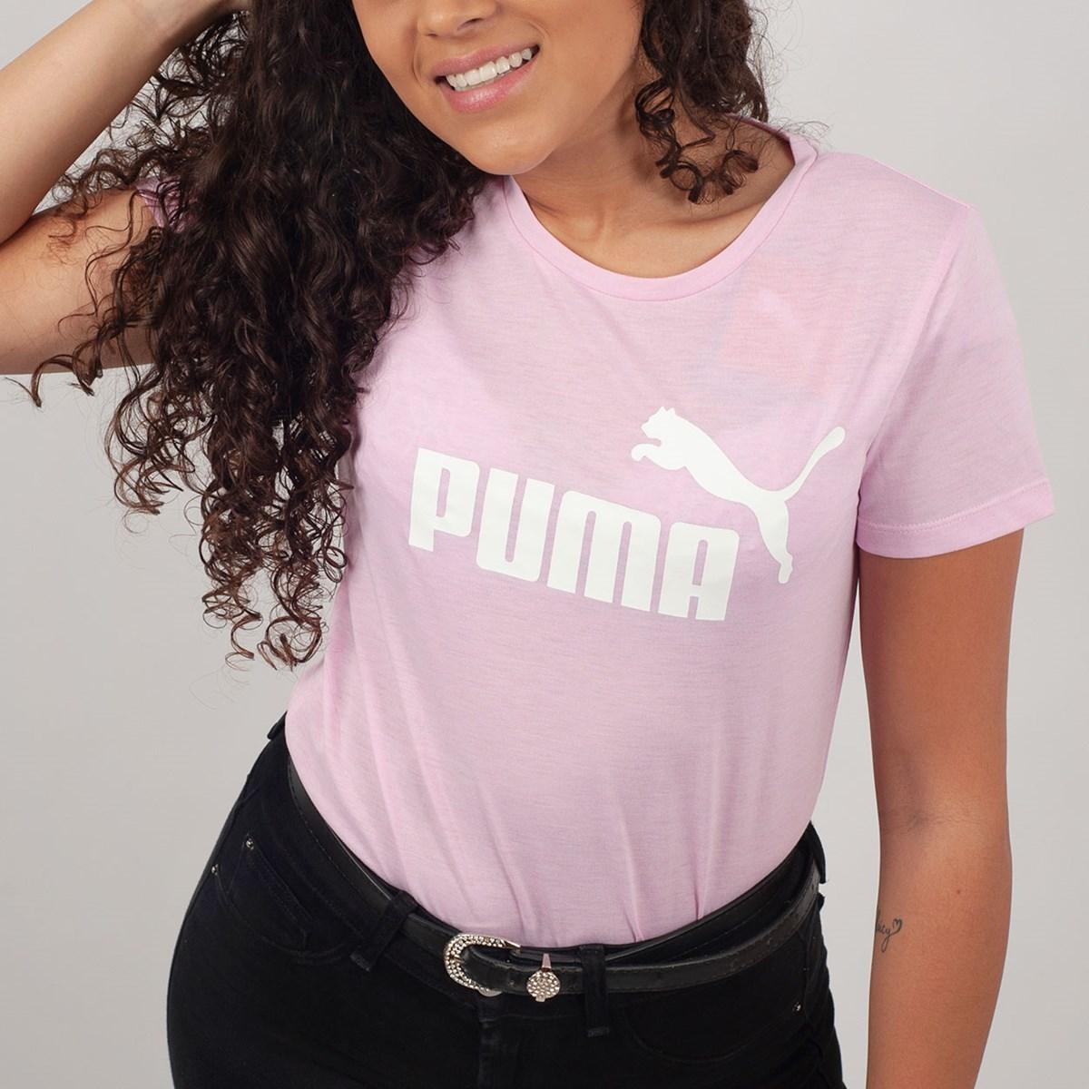 Camiseta Puma Feminina Essentials Heather Tee Rosa 85212721