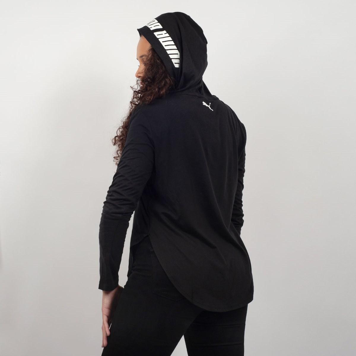 Camiseta Puma Feminina Manga Longa Capuz Modern Sports Light Cover Up Preto 85423501 Black