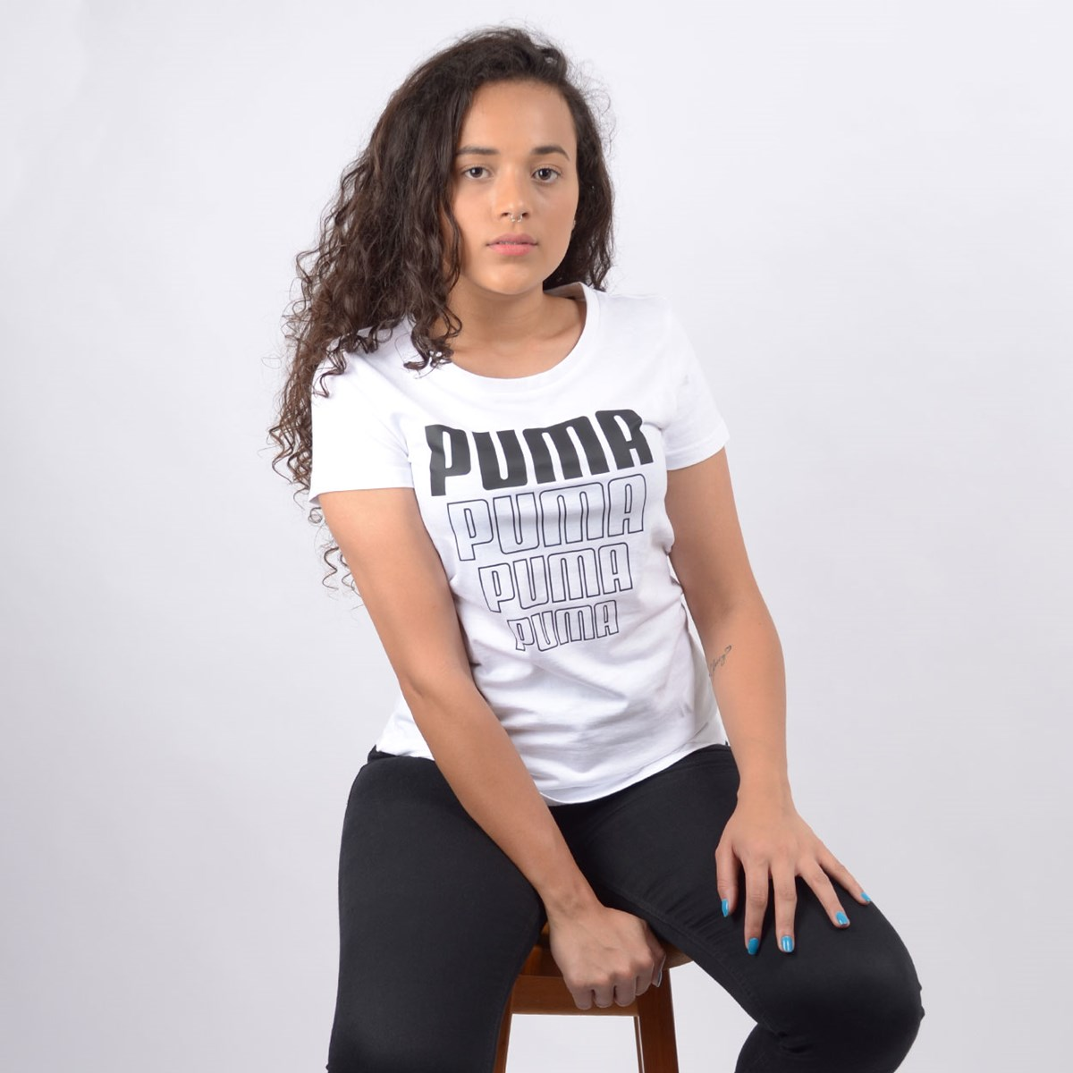 Camiseta Puma Feminina Rebel Graphic Tee White 58130702