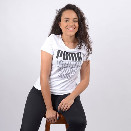 Camiseta Puma Feminina Rebel Graphic Tee White 58130702