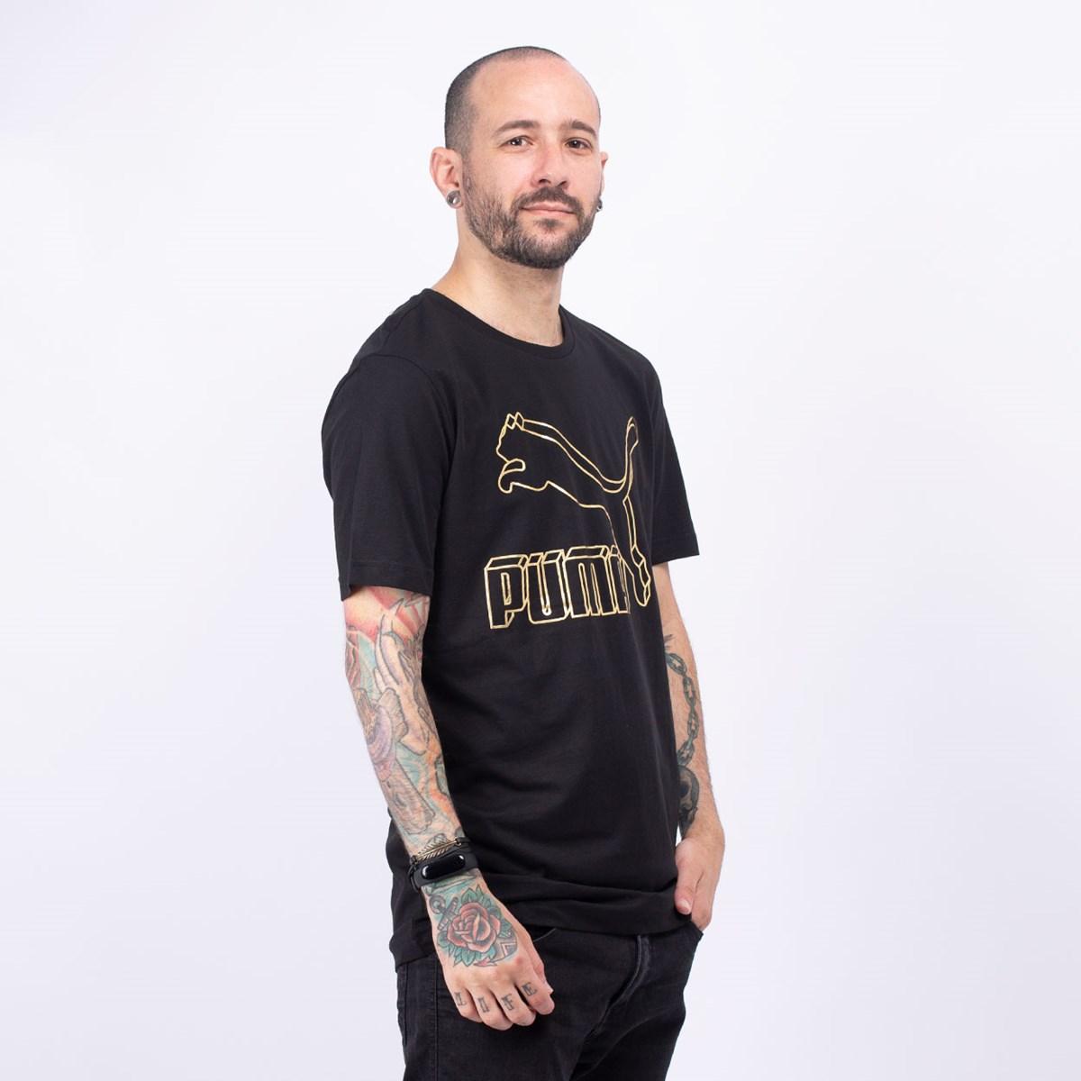 Camiseta Puma Masculina Classics Logo Tee Black Gold 59513266