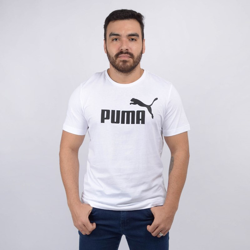 Camiseta Puma Masculina Essentials Tee Branco 85174002