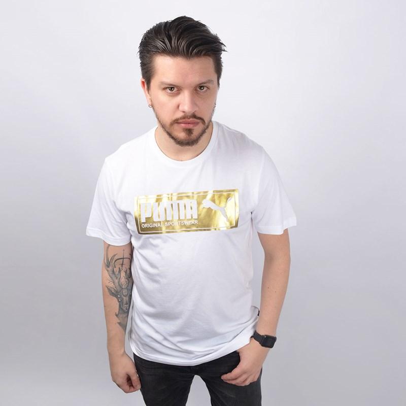 Camiseta Puma Masculina Gold Plate Brand Graphic Branco 85154602