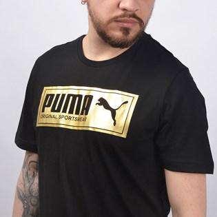 Camiseta Puma Masculina Gold Plate Brand Graphic Preto 85154601
